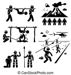 A set of human pictogram representing a lost civilization tribe that eat human. These cannibals capture human and roast them to eat as food. They also pray the eruption of volcano for mercy and trying to attack helicopter that flew over.