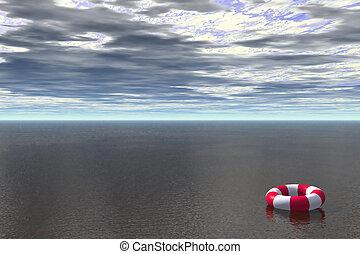 Lost - 3D render of life buoy floating in ocean