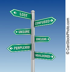 lost confused road sign concept 3d illustration