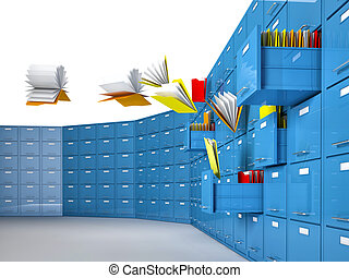 lost document - 3d image of flying document and file cabinet