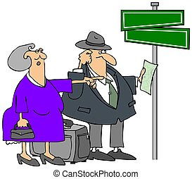 Lost Elderly Couple - This illustration depicts an elderly...
