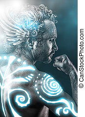 Lost gods, mythology concept, man with blue neon tribals, tattoo