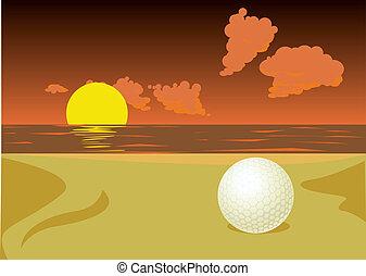 golf ball on the sunset beach