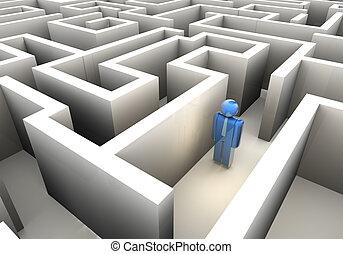 Lost in maze - Businessman icon lost in maze - 3d render