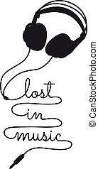 lost in music, vector headphone - lost in music, headphone...