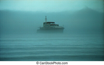 Lost in sea 1 - boat lost in fog at sea in Tadoussac, Quebec