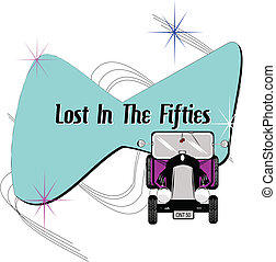 lost in the fifties - background splash with hot rod in...