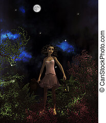 Lost In The Forest - Little girl lost in the forest, holding...