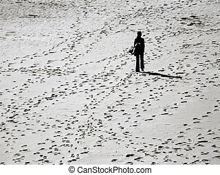 Lost in the Sands - Lone woman lost amidst various tracks...