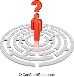 Lost Man Inside a Rounded Maze