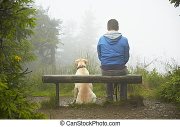 Lost man with his dog