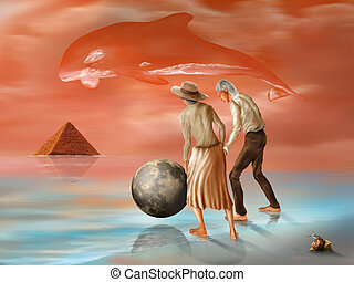 Lost pyramid - Illustration of an elderly couple in a...