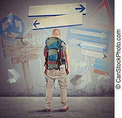 Lost traveler undecided which way to go
