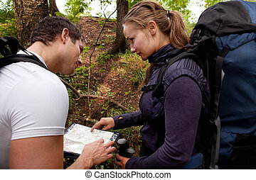 Lost with Map - A coupld with map and compass in the forest...