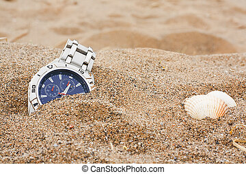 lost wrist watch at the beach - wristwatch left discarded at...