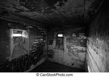Lostau Bunker BW - View in a small confined room in an old ...