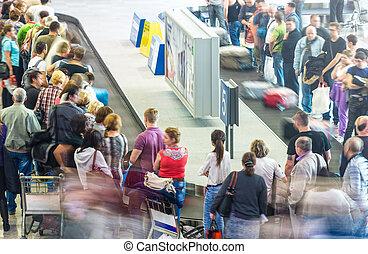 losy, aeroport., bagaż, ludzie, dostając