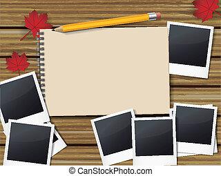 losy, szkicownik, pióro, otwarty, fotografie