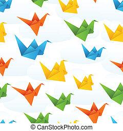 lot, abstrakcyjny, tło., papier, origami, ptaszki