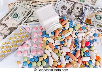 lot, au-dessus, différent, pilules, capsules, vue, monde médical, couleurs, factures, dollar