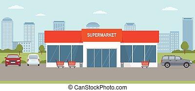 lot., edificio, supermercado, paisaje., estacionamiento, ...