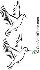 lot, od, gołębica