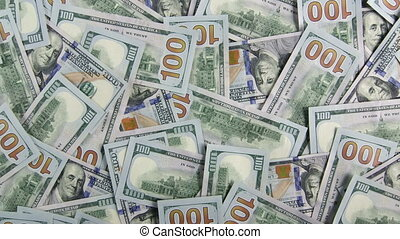 Lot of $100 american dollar bills closeup background