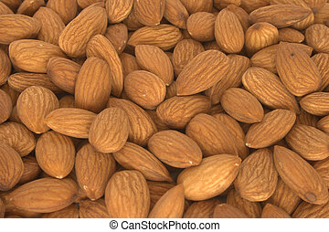 Lot of selected almonds close up