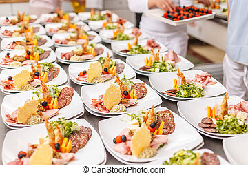 Lot of appetizer food plates