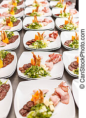 Lot of appetizers plates