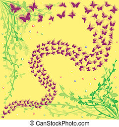 Lot of butterflies on a floral background