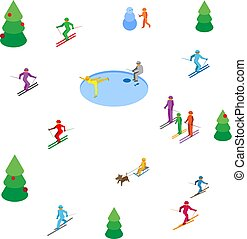 Lot of colored people skiing and skating on white background
