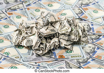 Lot of crumpled money on banknotes