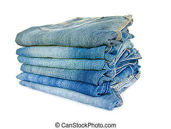 Lot of different blue jeans.