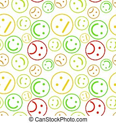 Lot of different colorful outline emoticons, seamless pattern on white