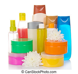 Lot of different cosmetic products for personal care - A lot...