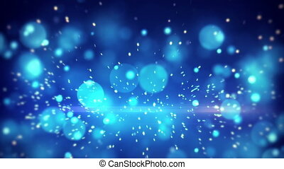 lot of fast flying particles blue