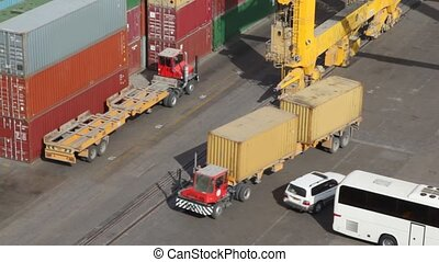 freight containers in seaport - lot of freight containers in...