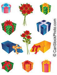 gifts - lot of gifts and bouquet of roses