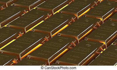 gold bullion - lot of gold bullion 3d rendering