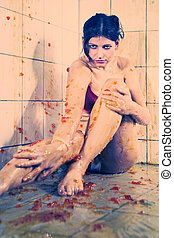 Lot of jelly slime - Young woman playing with melted Jelly ...