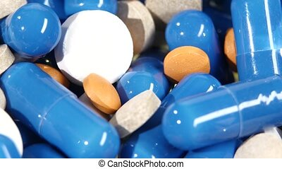Lot of medical pills, tablets and capsules, rotation