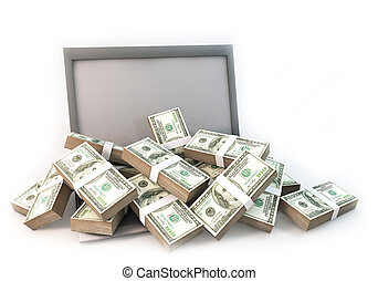 Lot of Money on Computer Laptop