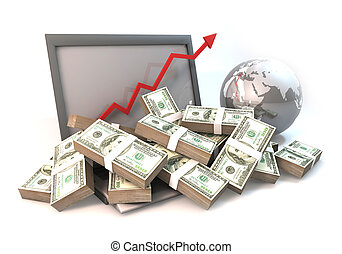 Lot of Money on Computer Laptop with business arrow