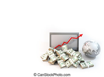 Lot of Money on Computer Laptop with business arrow background