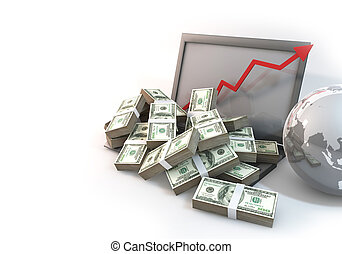 Lot of Money on Computer Laptop with business arrow perspective