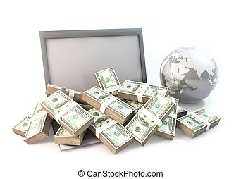 Lot of Money on Computer Laptop with world