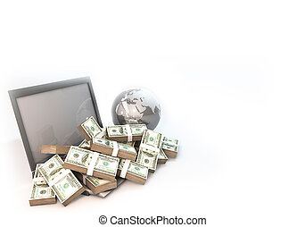 Lot of Money on Computer Laptop with world background