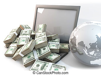 Lot of Money on Computer Laptop with world close up
