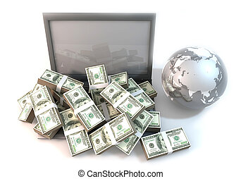 Lot of Money on Computer Laptop with world high view